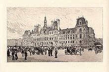 A.P. Martial Hotel de Ville Etching 1800s
