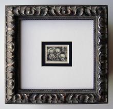 Barthel Beham Infant with Skulls engraving 1800's