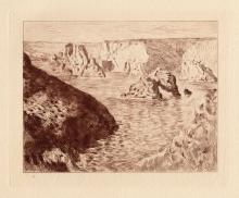 Claude Monet 1800's Etching Seaside Rocks Belle Isle