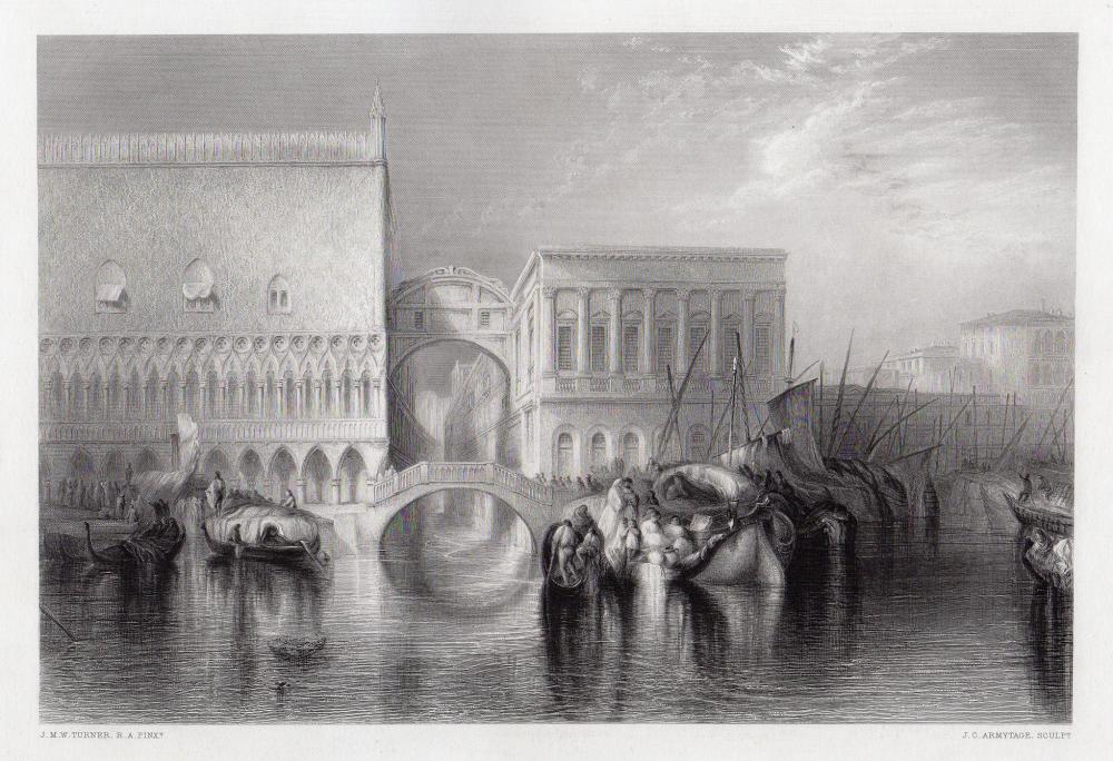 Joseph Mallord William Turner 1863 engraving Venice, The Bridge of Sighs signed