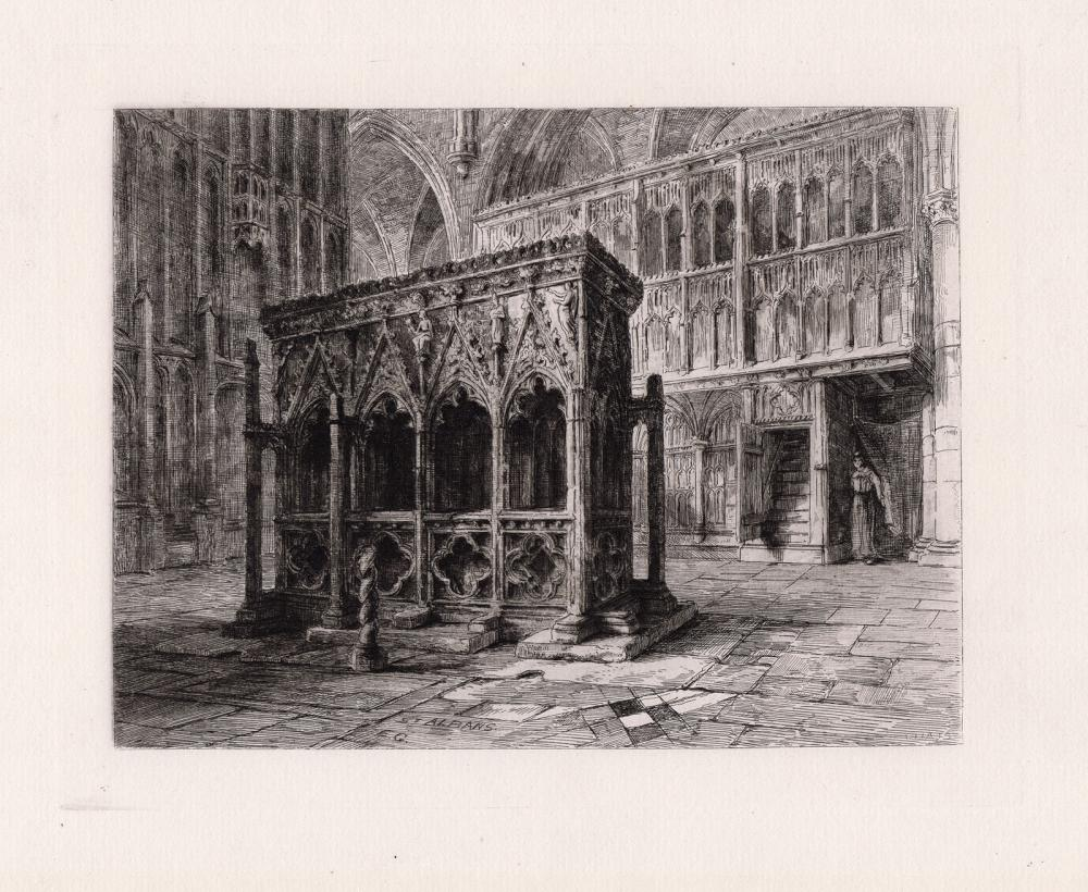 Sir Ernest George The Shrine of St. Alban 1876 etching