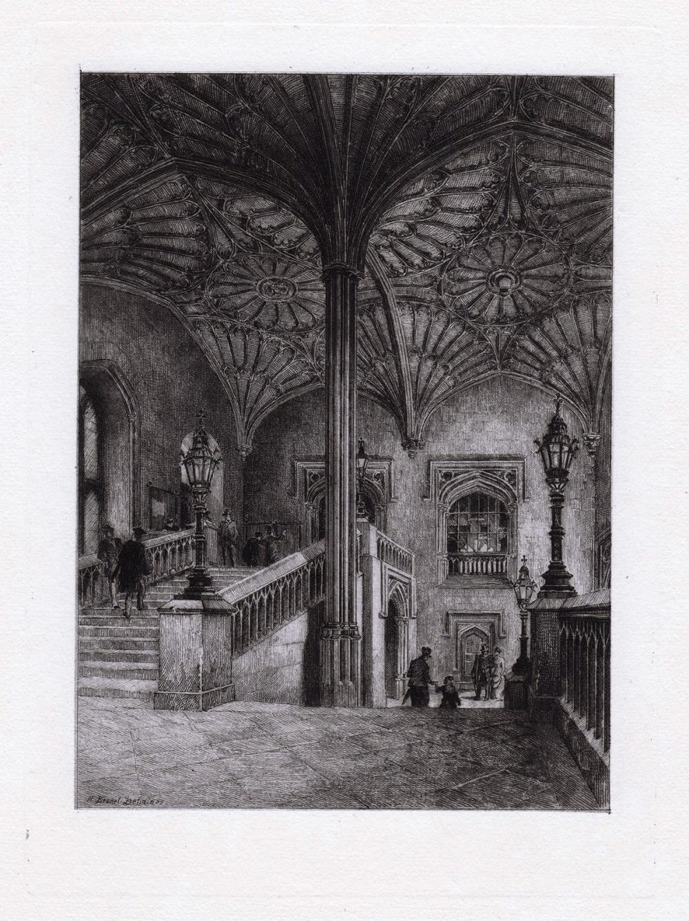 Alfred Louis Brunet Debaines Staircase of Christchurch 1879 etching