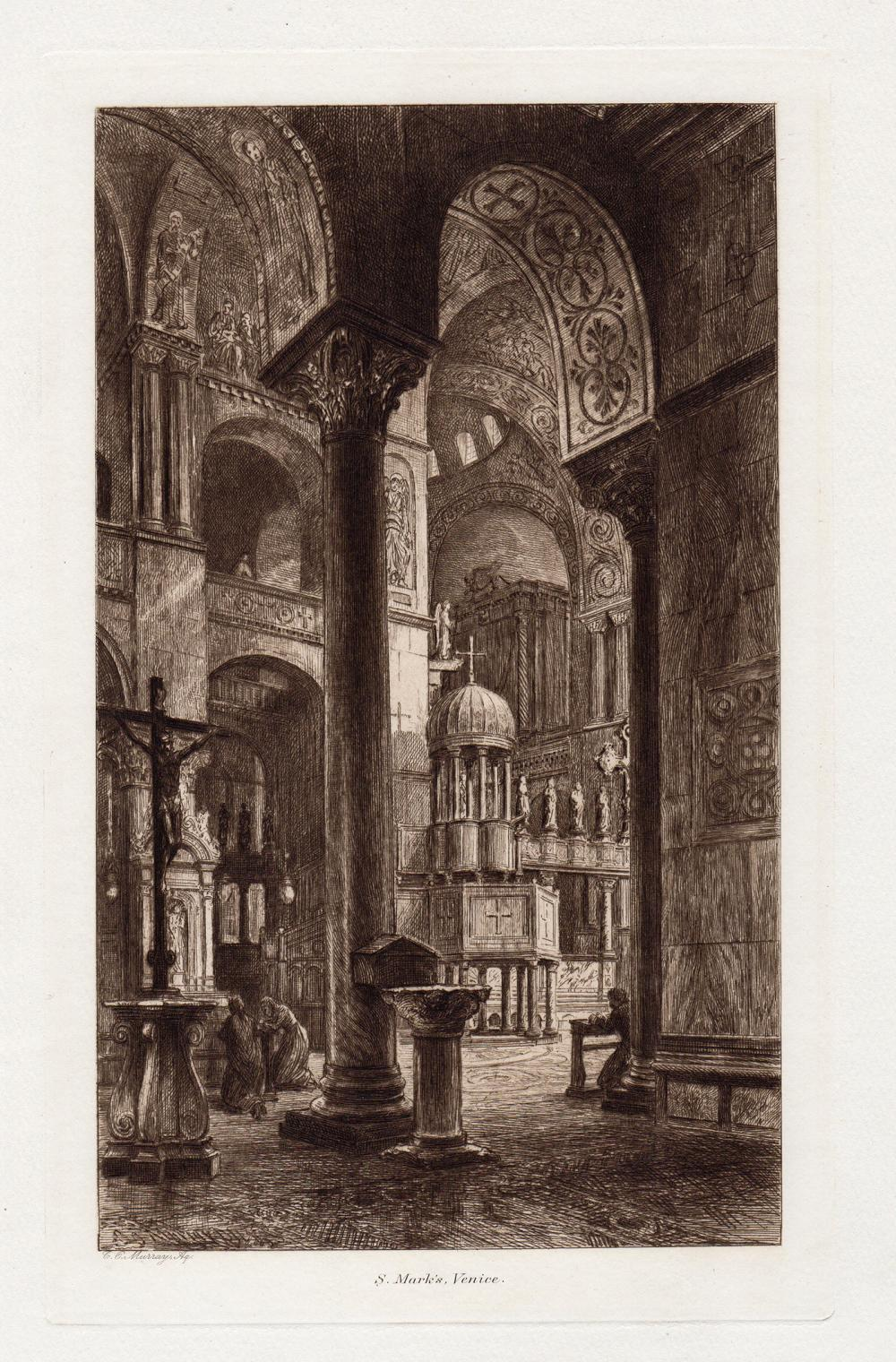Charles Oliver Murray St. Mark's Venice etching signed