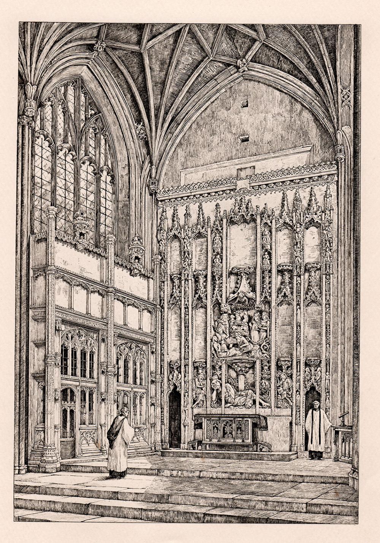 E. L. Seeley Christchurch, the Chancel 1890 engraving