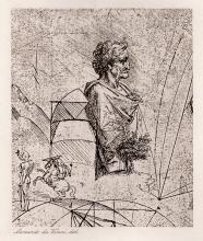 1893 Leonardo da Vinci Bust of an Old Man in Roman Costume print signed