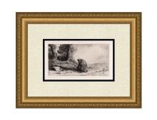 1881 Alphonse Legros The Wayfarer etching signed