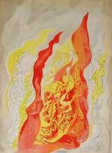 Abraham Rattner 1938 Lithograph Fire
