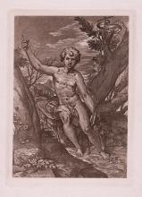 Raphael St. John the Baptist engraving 1800's