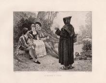 Etienne Barthelemy Garnier 1891 etching A Monk's Fun signed