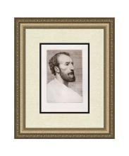 Alphonse Legros 1877 etching Portrait of Jules Dalou signed