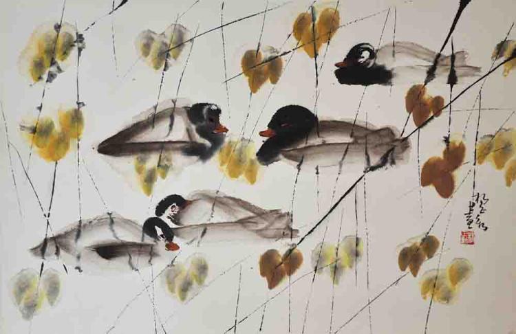 YANG ZHENGXIN (B. China, 1941) 'Ducks'