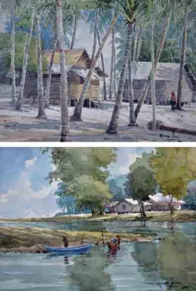 MOKHTAR ISHAK (B. Kelantan, 1952) 'Chinese Village, Besut, & Sunrise in Pantai Sabak'