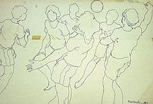 KHALIL IBRAHIM (B. Kelantan, 1934) Netball Sketch, 1985