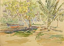 ISMAIL MAT HUSSIN (B. Kelantan, 1938-2015) East Coast Fishing Village, 1992