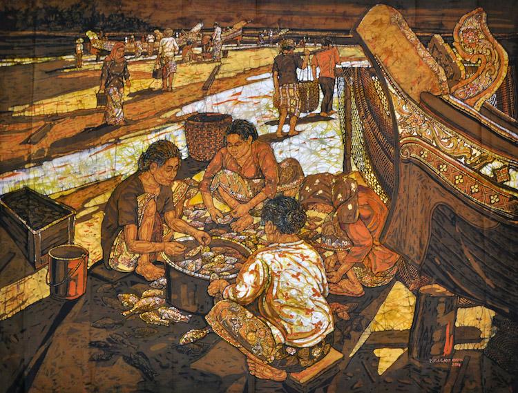 ISMAIL MAT HUSSIN (B. Kelantan, 1938-2015) Pantai Sabak Fishing Village, 2011