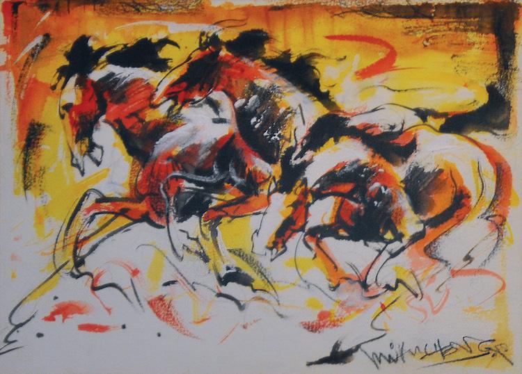 LIM AH CHENG (B. Selangor, 1968) Challenging Horses Series, 1998