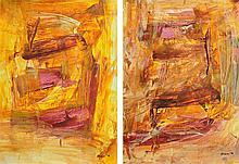 "BHANU ACHAN (B. Kuala Lumpur, 1949) Opus Series ""Brown I & Brown II"", 2016"