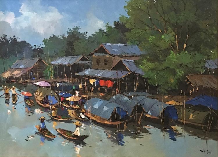 TAWEE NANDAKWANG (B. Thailand, 1925 – 1991) Canal Boat Scene, 1973