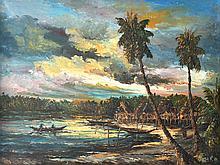 YUSOFF ABDULLAH (B. Kelantan, 1928-2006) Fishing Village