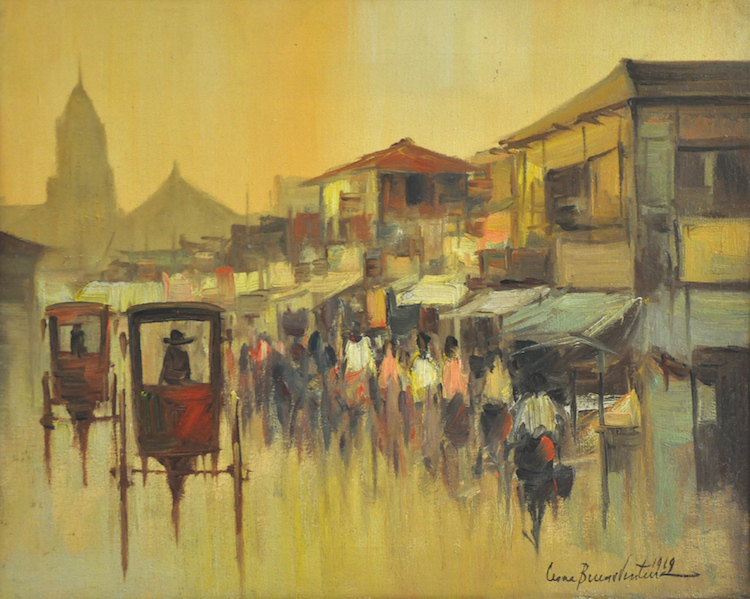 CESAR BUENAVENTURA (B. Philipines 1919-1983) Village Scene, 1969
