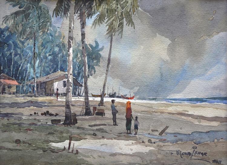 MOKHTAR ISHAK (B. Kelantan, 1939) Sunset in Pantai Malawi, 2011
