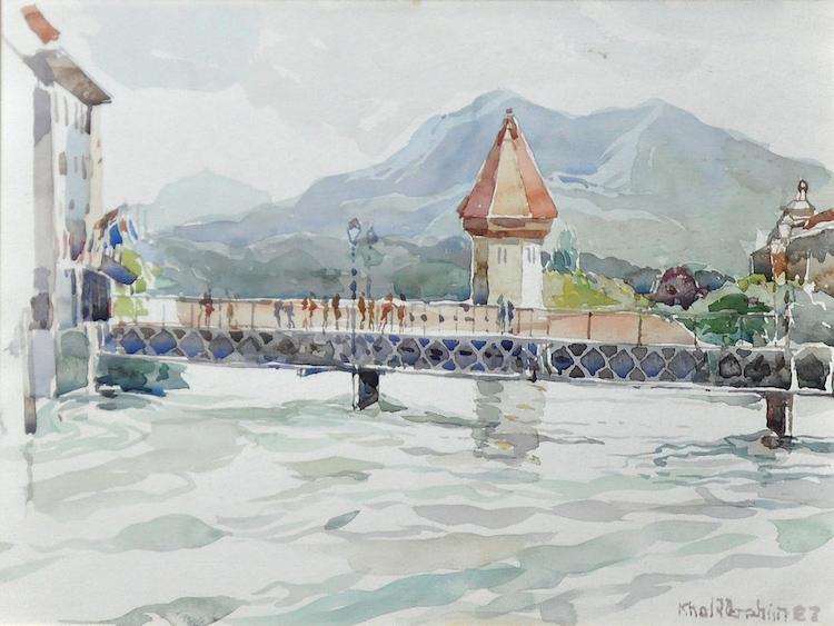 KHALIL IBRAHIM (B. Kelantan, 1934) Lucerne Old Bridge, 1987