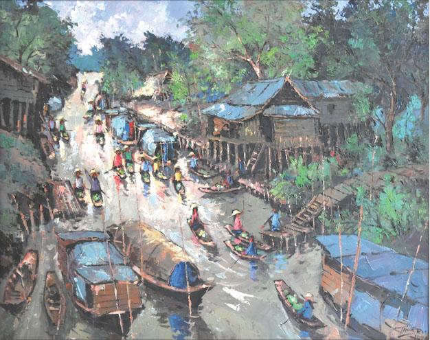 TAWEE NANDAKWANG (B. Thailand 1925-1991) 'Sampan Boats on River'