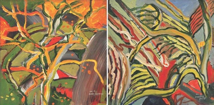 RAPHAEL SCOTT AHBENG (B. Sarawak, 1939) 'Golden Landscape & Sapphire Feeling'