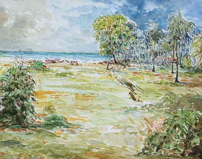 KHALIL IBRAHIM (B. Kelantan, 1934) 'East Coast Bachok Landscape'