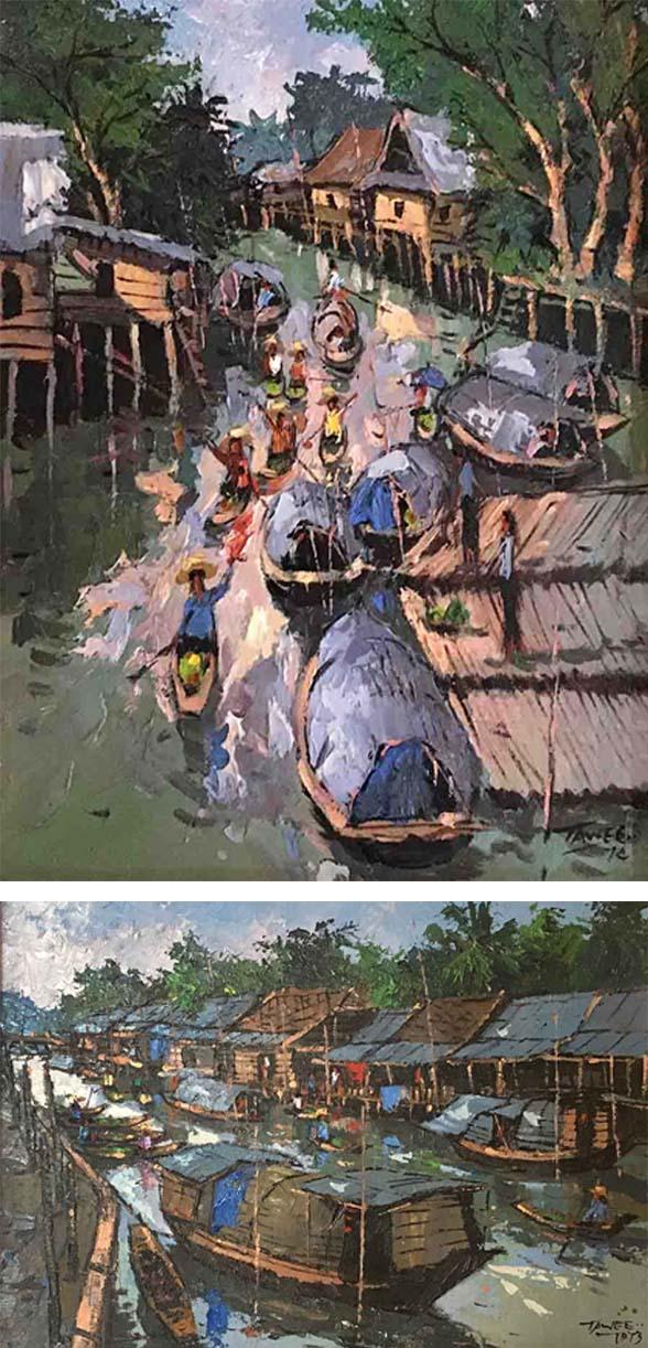 TAWEE NANDAKWANG (B. Thailand, 1925 – 1991) Canal Boat Scene, 1974 & Canal Boat Scene, 1973