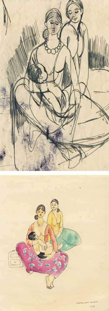 ISMAIL MAT HUSSIN (B. Kelantan, 1938-2015) Study of Mother and Child I & II, 1971