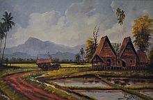 YUSOFF ABDULLAH Sawah Padi, 1962 Oil on canvas