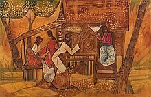 KENG SENG CHOO Market Scene, 1972 Batik