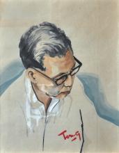 CHUAH THEAN TENG, DATO' Self Portrait, Watercolour on pape