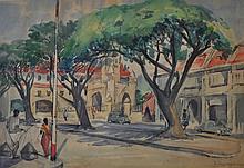 KUO JU PING Street Scene, 1957 Watercolour on paper