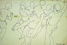 KHALIL IBRAHIM Netball Sketch, 1985 Ink on paper