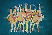 NIK RAFIN Ballerinas - Green Series, 2016 Acrylic on canvas