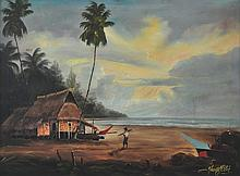 YUSOFF ABDULLAH Back From The Sea, Oil on board