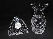 Waterford Crystal Vase & Waterford Desk Clock