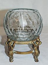 19th C. Hand Cut Crystal Honey Comb Bowl, Bronze Cheurb