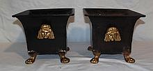 Pair of Vintage Tole Paw Footed Planters