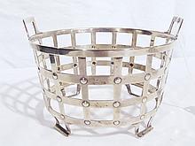 A Very Fine Vintage Sterling Studded Handled Basket