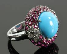 18K Ruby, Diamond and Turquoise Ring