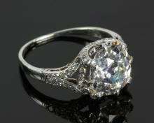 Platinum and 3.0 Carat Mine Cut Diamond Ring