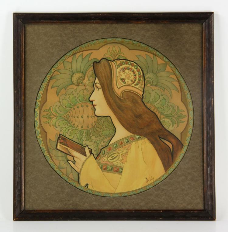 Atche, Art Nouveau Colored Print