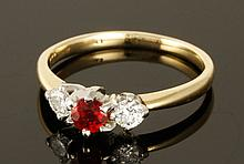 14K Gold, Diamond and Natural Ruby Ring