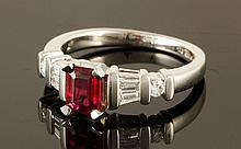 Platinum, Diamond and African Tourmaline Ring