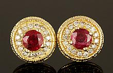 14K Gold, Diamond and Burmese Ruby Earrings