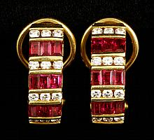 18K Gold, Diamond and Ruby Earrings