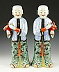 Chinese 19th C. Pair of Porcelain Figures